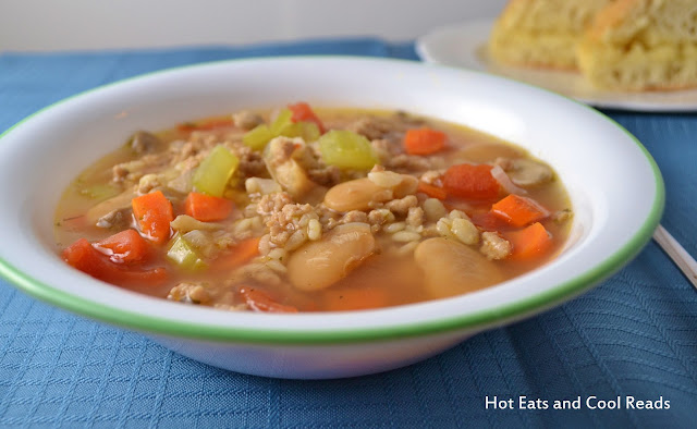 A tasty, hearty and healthy soup! Packed full of veggies and made with ground turkey! Turkey, Barley and Vegetable Soup Recipe from Hot Eats and Cool Reads