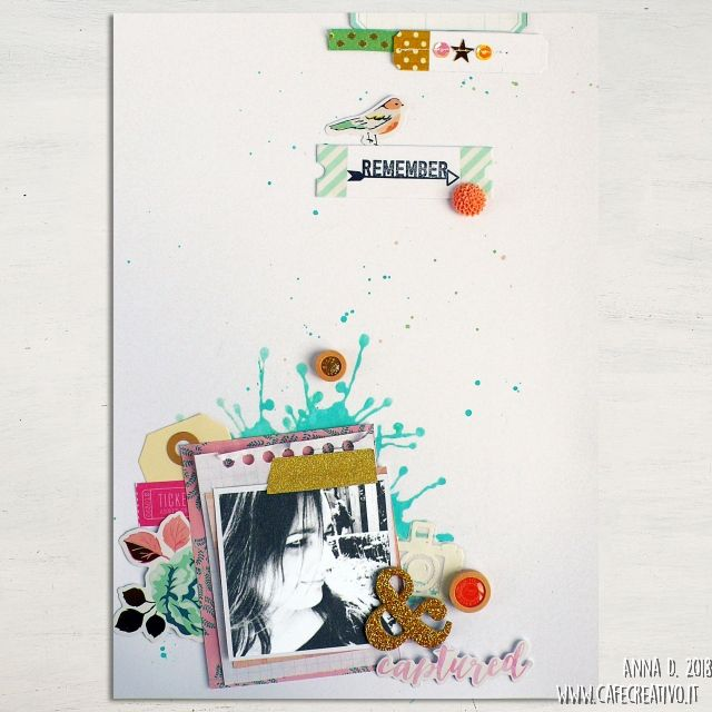 Scrapbooking- Sfondo con stencil + Distress Oxide e Gelatos