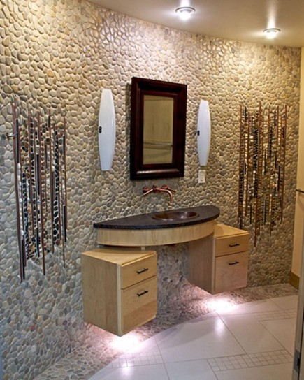 Decoraci n de ba o con piedras colores en casa for Accesorios bano piedra