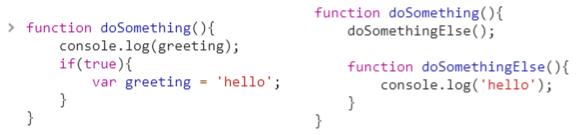 hoisting javascript ejemplos