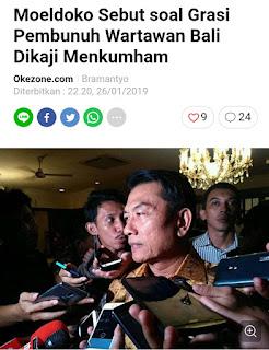 Moeldoko Sebut soal Grasi Pembunuh Wartawan Bali Dikaji Menkumham