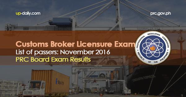 Customs Broker Board Exam Results, November 2016 List of Passers