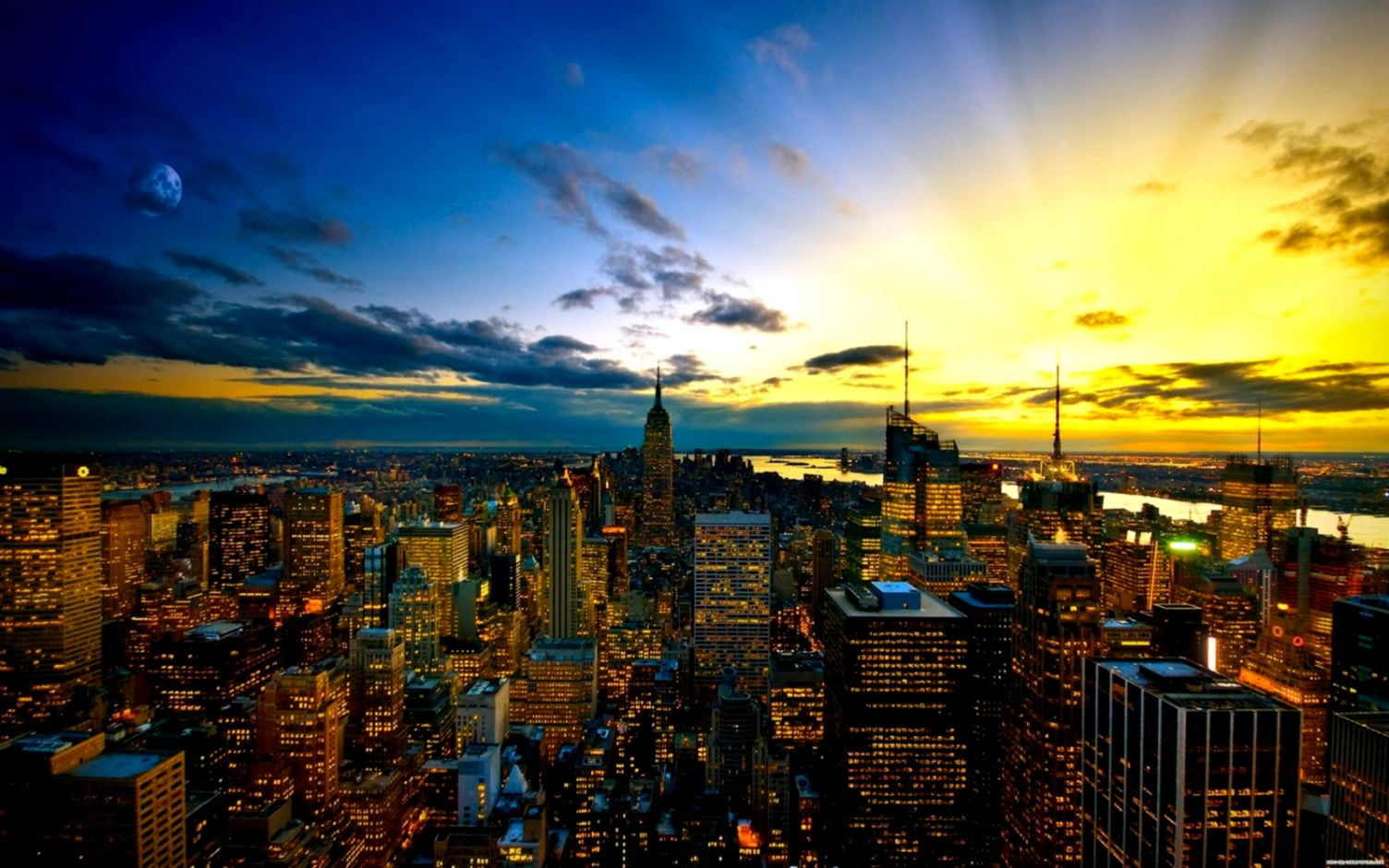 Sunset City Skyline Hd Wallpaper Desktop Wallpapers Just Do It