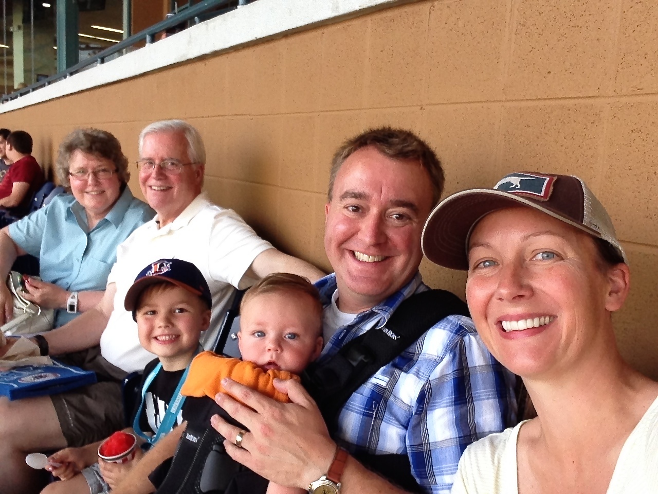 A family selfie at the Durham Bulls game