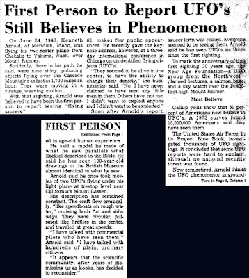 First Person To Report UFO's Still Believes in Phenomenon (Kenneth Arnold) - Grit 7-10-1977