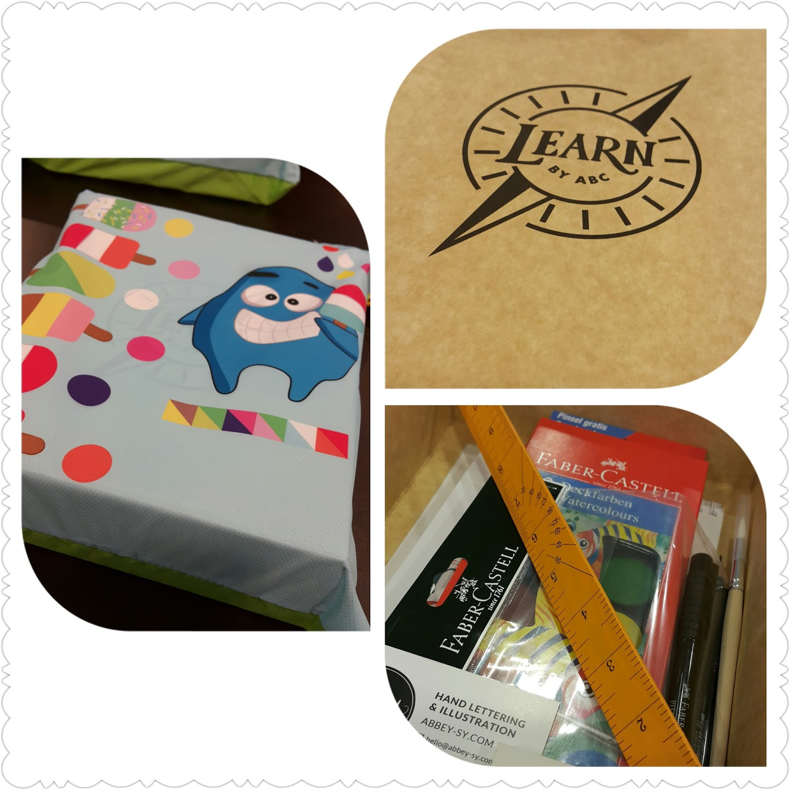 our workshop tools include a ruler pencil erader worksheets faber castell pitt pens fb watercolor googly notebook and abbey sy sketchpad