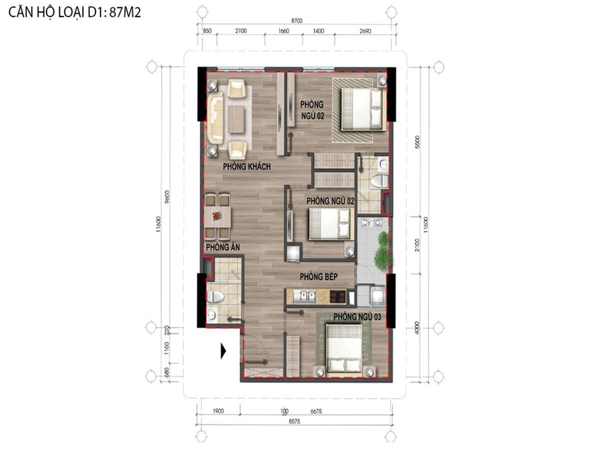 Mặt bằng căn hộ loại D1