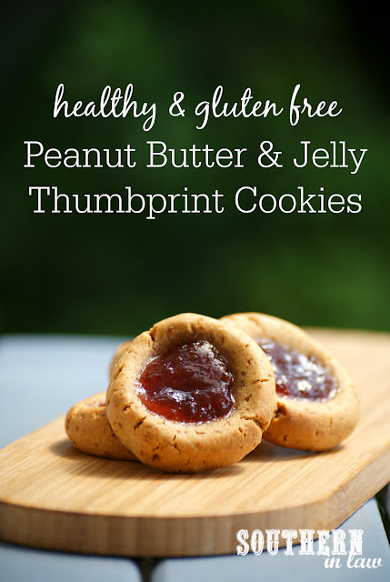 Healthy Peanut Butter and Jelly Thumbprint Cookies Recipe - PB&J Thumbprint Cookies, low fat, gluten free, low sugar, refined sugar free, clean eating, one bowl cookie recipe