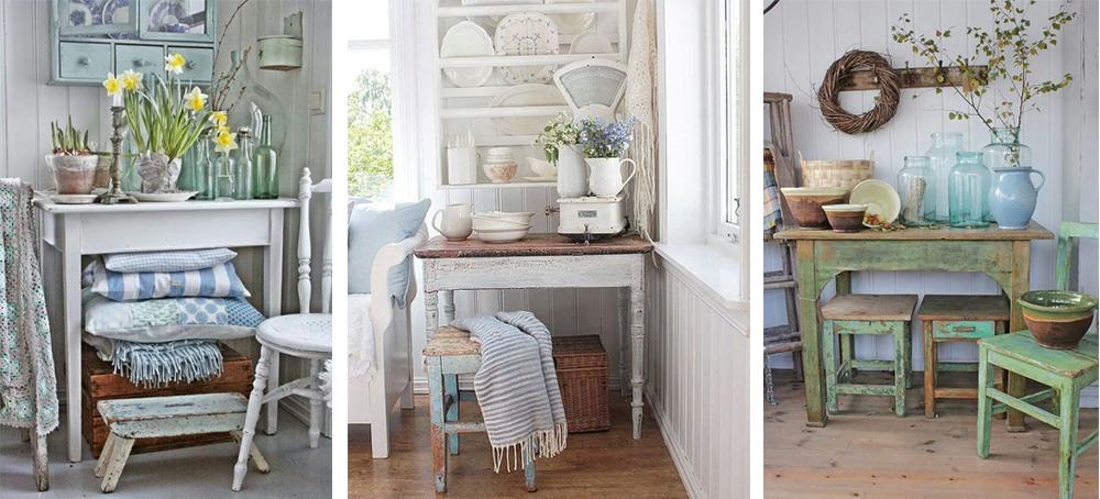 accesorios para decorar al estilo vintage con balanza, textiles y muebles decapados en blanco