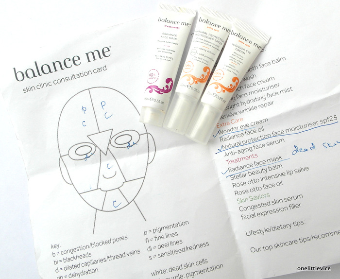 One little Vice Beauty Blog: Balance Me SKincare consultation
