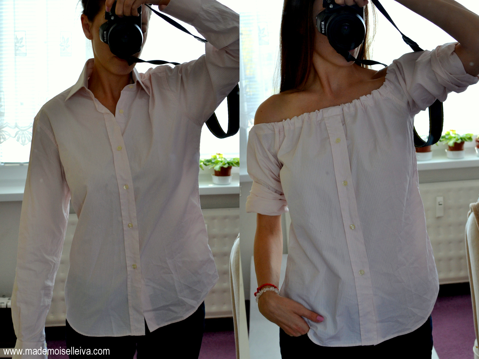 refashion: men's shirt to off the shoulder blouse