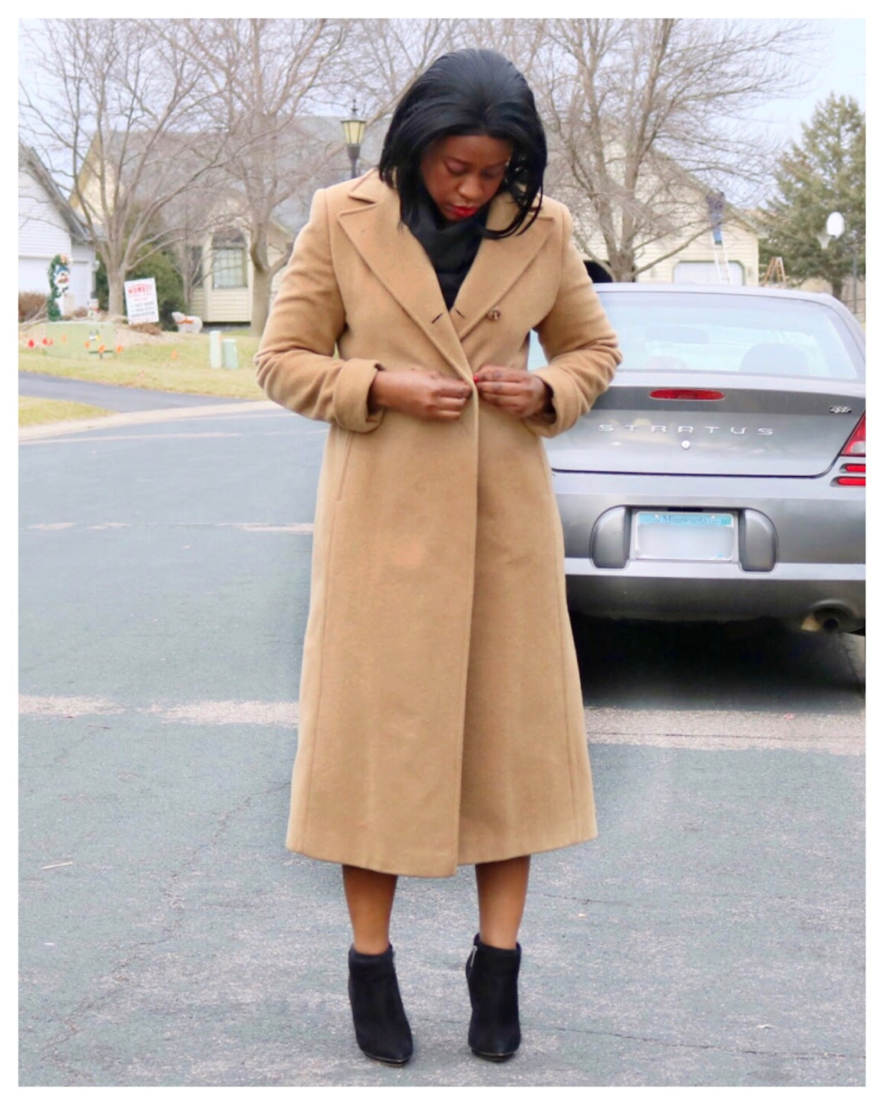 Beauty's Fashion Zone: Camel Color Coat + Black Ankle Boots