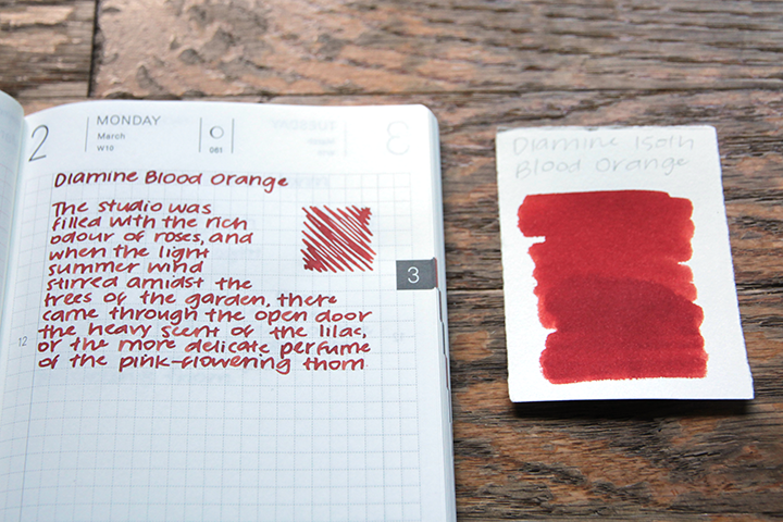 review: diamine 150th anniversary blood orange