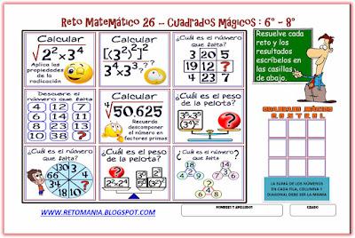 Retos matemáticos, Desafíos matemáticos, Problemas matemáticos, Cuadrados mágicos, Descubre el números, El número que falta, Problemas de balanza