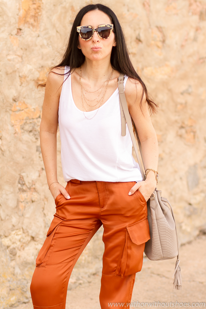 White tank top combined with cargo pants+ Design Sunglasses SUmmer 2016