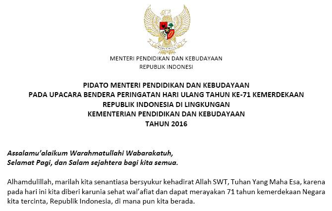 Berikut Saya Share Pidato Menteri Pendidikan Dan Kebudayaan Pada Upacara Bendera Peringatan Hari Ulang Tahun Ke  Kemerdekaan Republik Indonesia Di