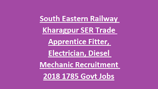 South Eastern Railway Kharagpur SER Trade Apprentice Fitter, Electrician, Diesel Mechanic Recruitment 2018 1785 Govt Jobs