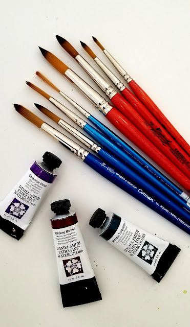 New watercolor tubes and brushes.