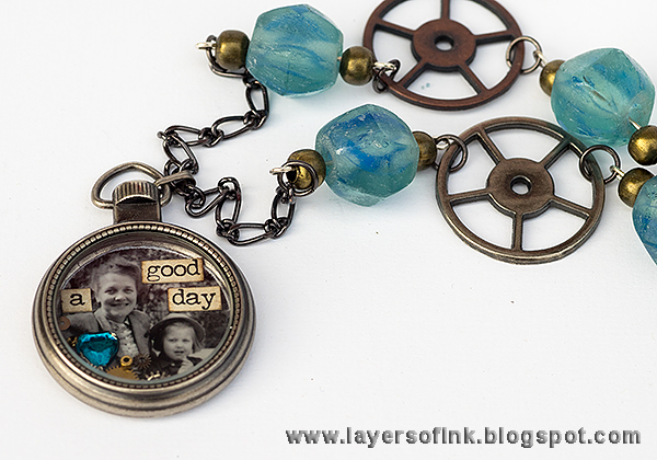Layers of ink - Mini Pocket Watch Necklace by Anna-Karin, with Tim Holtz idea-ology Mini Pocket Watch