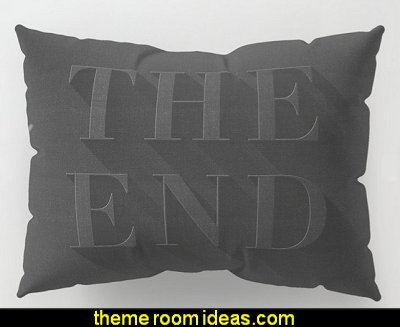THE END Pillow Sham  Movie themed bedrooms - home theater design ideas - Hollywood style decor - movie decor -  Film decor - home cinema decor - movie theater decor - Home Theater Curtains - cinema themed bedroom movie theater - movie themed decorating ideas - movie props - designing a home theater room -  decorating home theater ideas - media room decorating ideas - film buff bedroom ideas