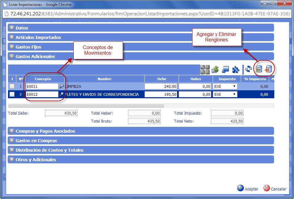 Gastos Adicionales de Importación - Gastos de Importación de eFactory ERP/CRM