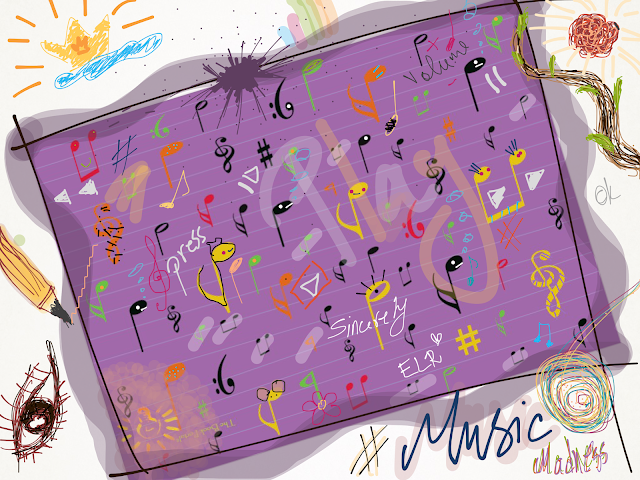 music madness, art, sketch, drawing, music notes, music symbols, symbols, The Book Portal