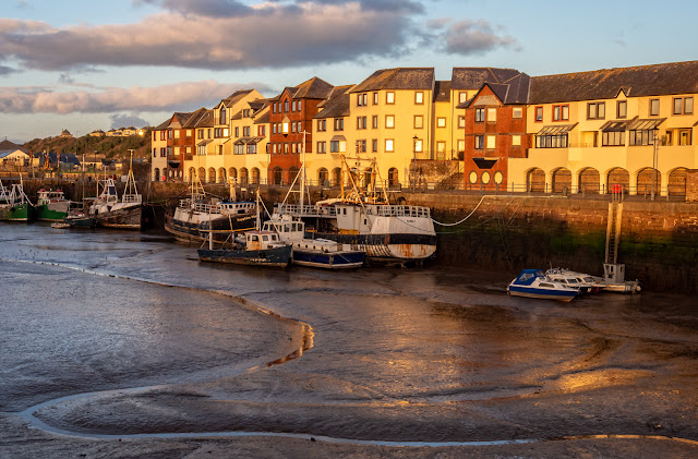 Photo of golden light on Maryport Harbour on Sunday evening