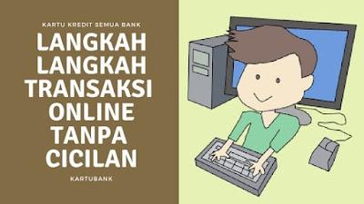 Ilustrasi seorang anak sedang melakukan transaksi online tanpa cicilan dengan kartu kredit