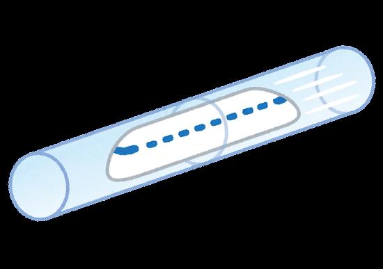 チューブ内を走る列車のイラスト