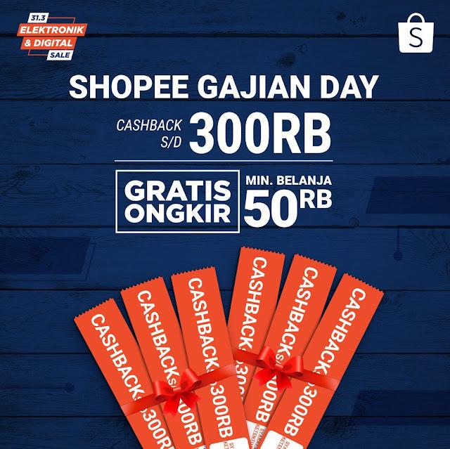 #Shopee - #Promo Cashback Hingga 300K di Shopee Gajian Day + Gratis Ongkir