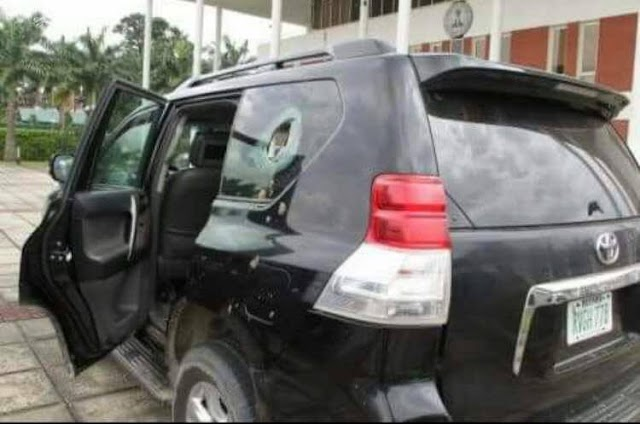 BREAKING: APC governor attacked in Niger, Bullet proof vehicle Damaged (SEE PHOTO)