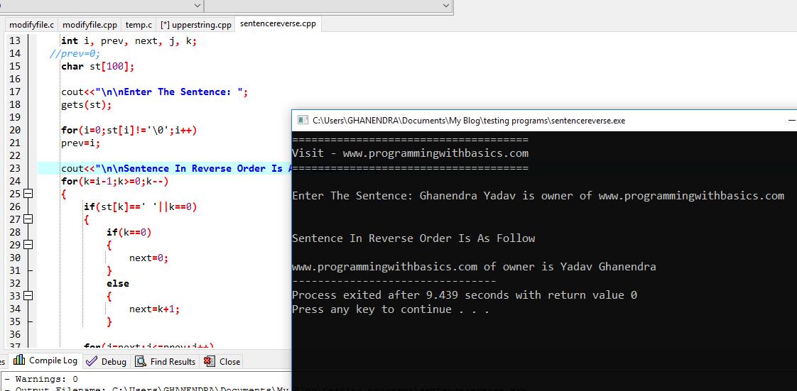 C++ Program To Reverse a Sentence or String