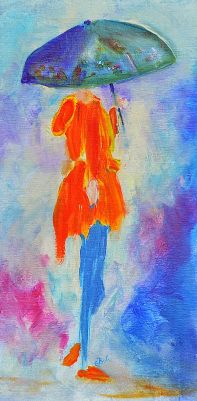 Colorful acrylic and digital art image of girl with umbrella by Claire Bull