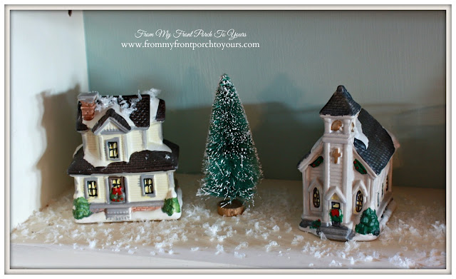 Small Christmas Village House and Church-Christmas Village Vignettes- From My Front Porch To Yours