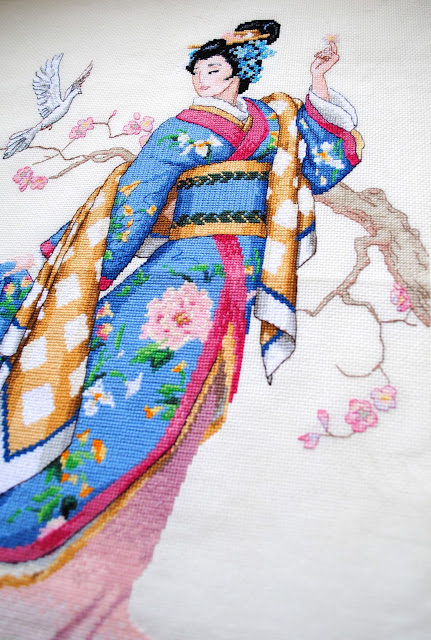 Dimensions Gold Elegance of the Orient Cross Stitch Work in Progress Oriental lady kimono WIP
