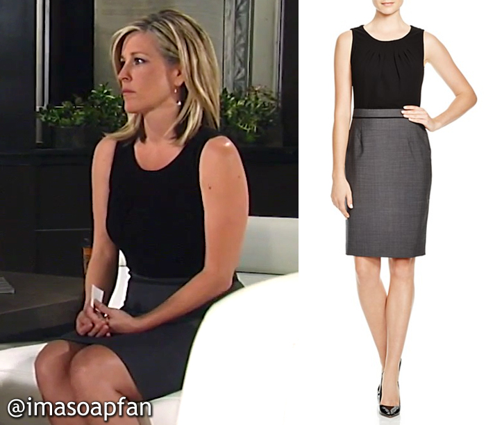 Carly Corinthos, Laura Wright, Black and Grey Dress, Hugo Boss, GH, General Hospital