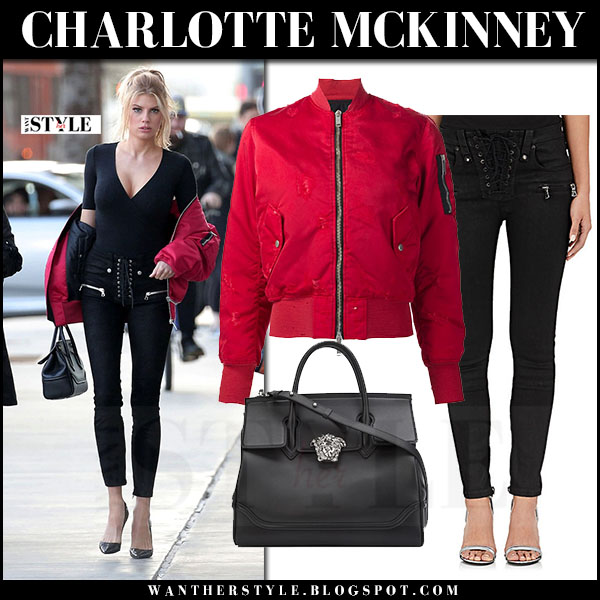 Charlotte Mckinney in red bomber jacket unravel, black lace up skinny jeans unravel what she wore streetstyle