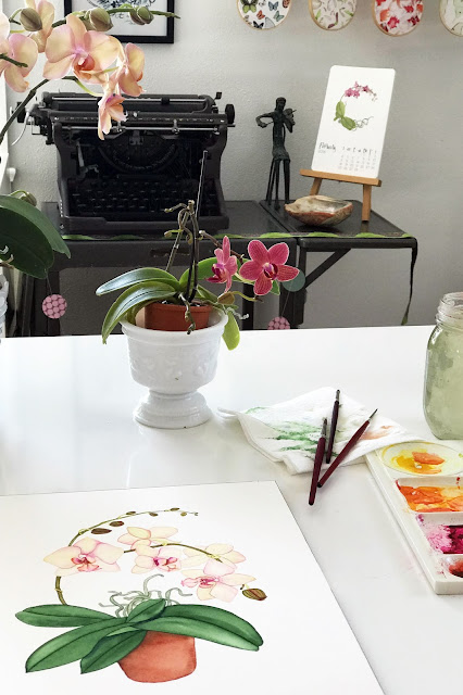watercolor, orchids, botanical watercolor, art studio, artist studio, workspace, Anne Butera, My Giant Strawberry