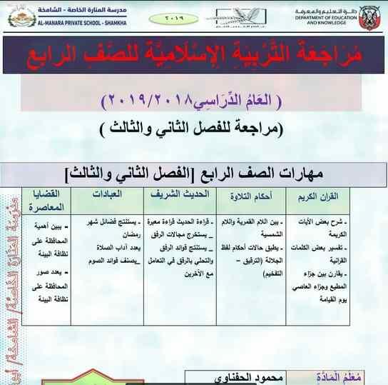 ملزمة مراجعة مادة التربية الاسلامية للصف الرابع الفصل الدراسى الثانى والثالث 2019