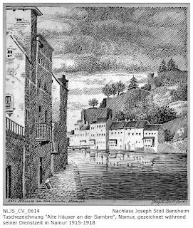 Tuschezeichnung Häuser an der Sambre, Namur; Nachlass Joseph Stoll Bensheim, Stoll-Berberich 2016