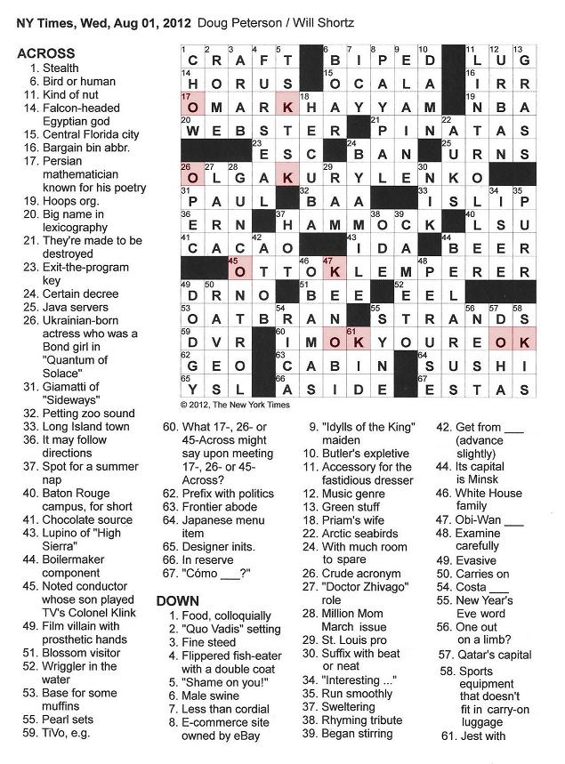 The New York Times Crossword in Gothic: 08.01.12 — O K