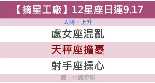 【摘星工廠】星吧每日運勢2018.09.17