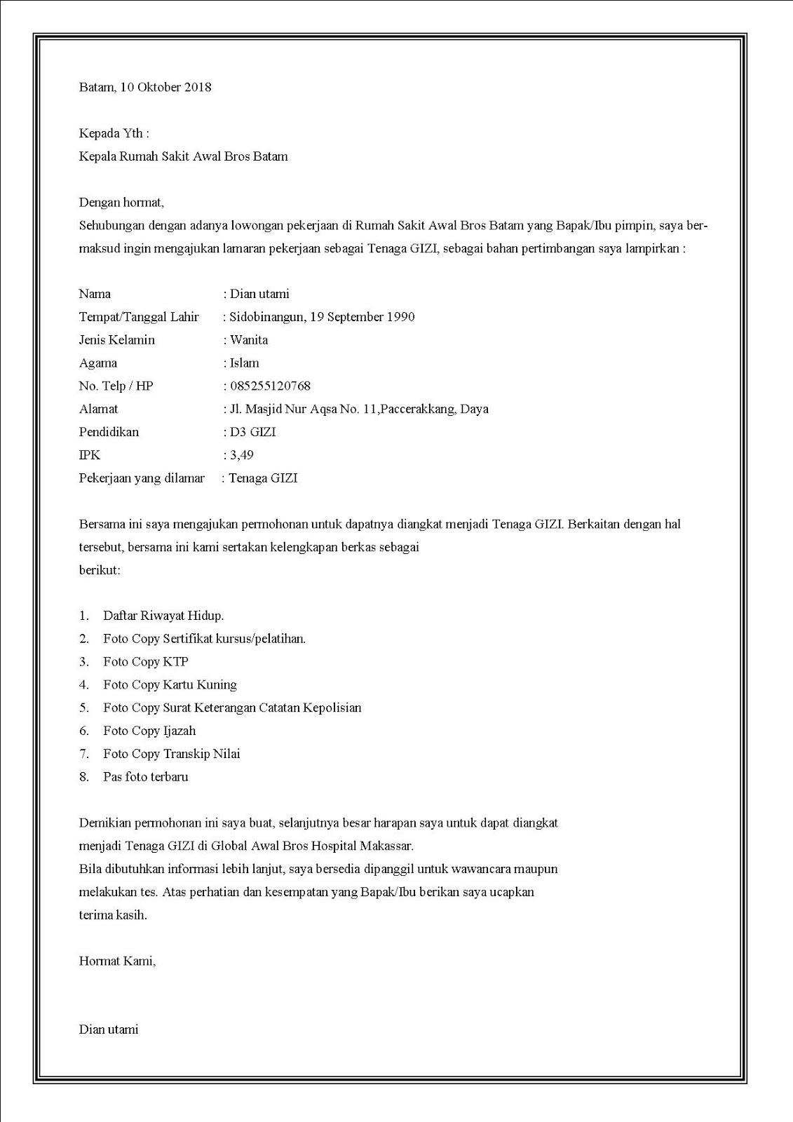 Contoh surat lamaran kerja di rumah sakit sebagai ahli gizi