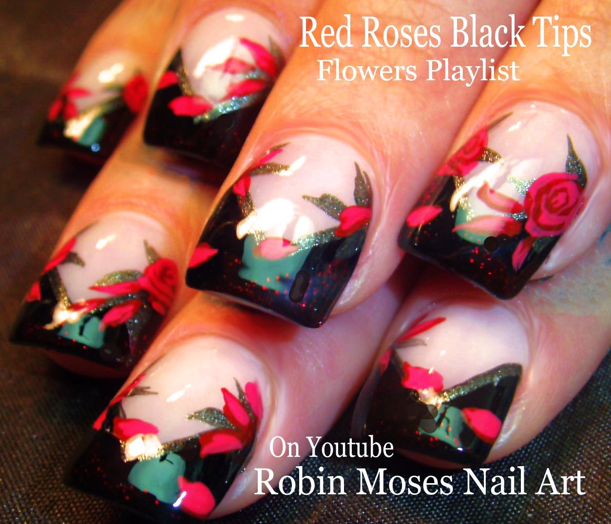 Nail Art by Robin Moses: Rosegold Nails. How to paint Roses Nail Art ...