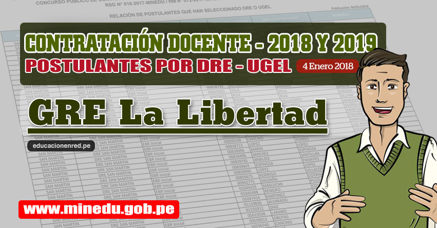 GRE La Libertad: Lista de Postulantes por UGEL DRE - Contrato Docente 2018 (.PDF) www.grell.gob.pe
