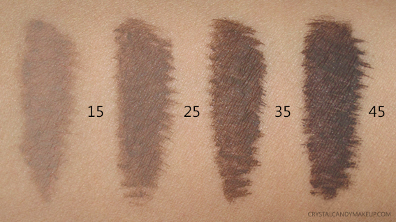 Make Up For Ever MUFE Tinted Brow Gels Swatches 15 25 35 45