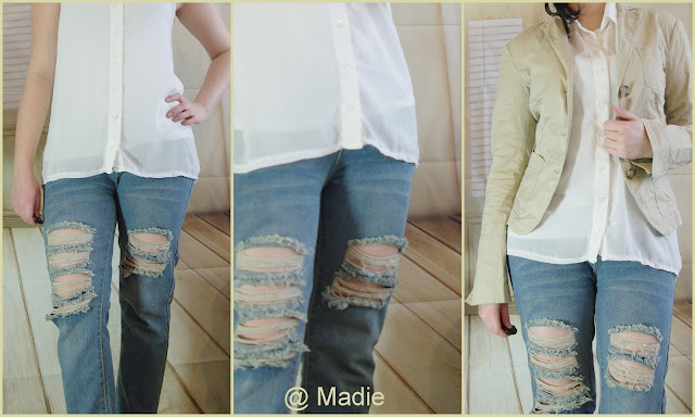 Outfit How to style a Boyfriend Jeans: Chiffon Top