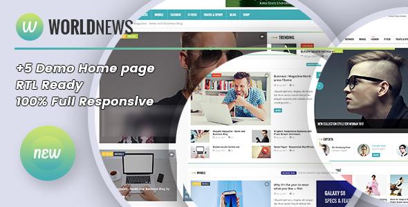 Free Download WorldNews - Magazine RTL Responsive WordPress Blog\Magazine V1.4