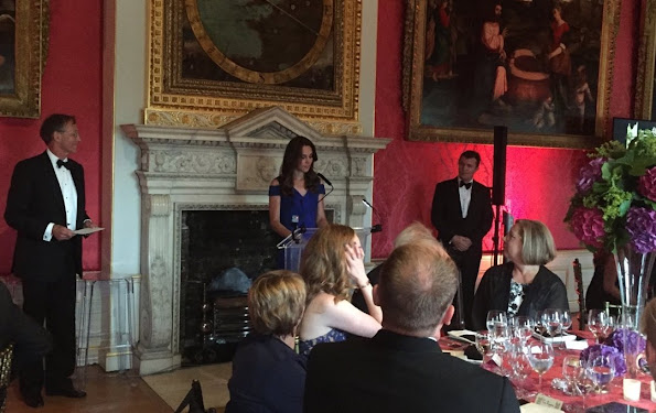 Kate Middleton attended the TeamSportsAid 40th anniversary dinner at Kensington Palace. Kate Middleton wore Roland Mouret Nansen Crepe Dress, PRADA Clutch