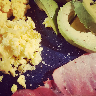 Scrambled Egg, Avocado and Bacon. A really lovely Breakfast!